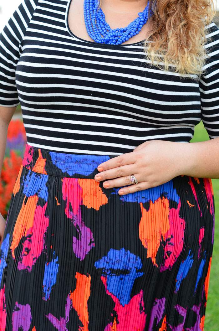 plus size stripes bright maxi skirt