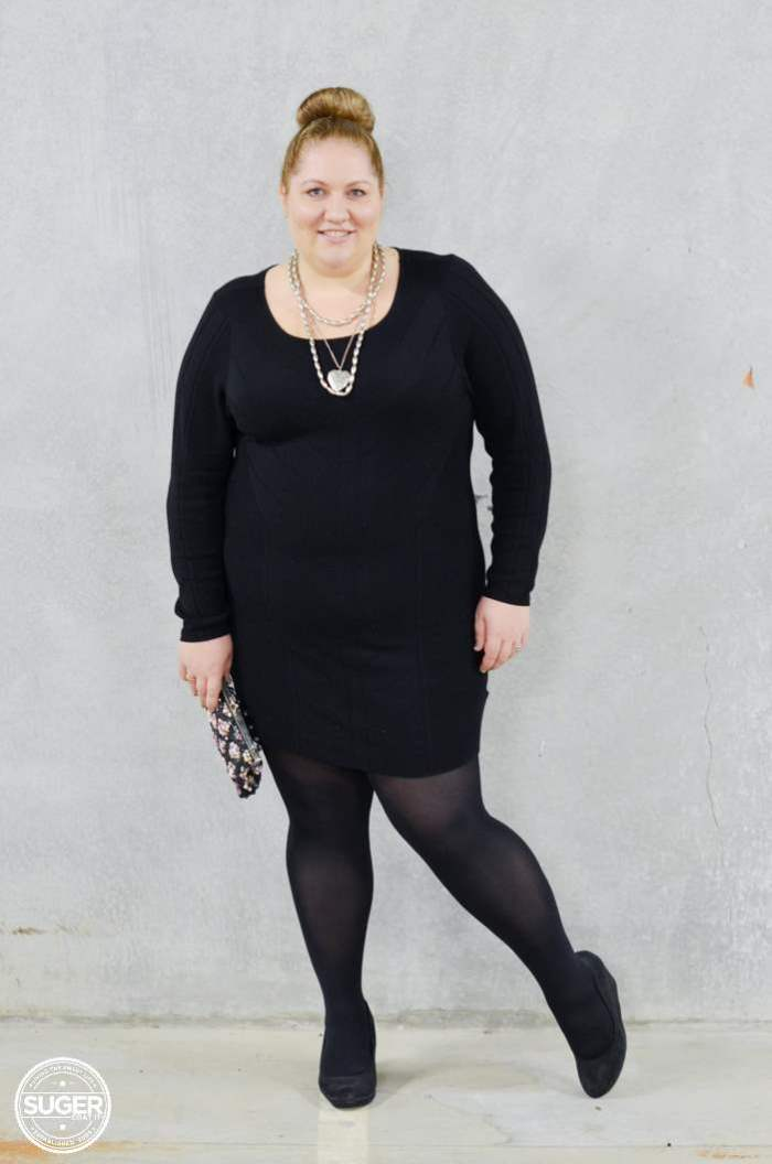 black knit dress with tights plus size-2