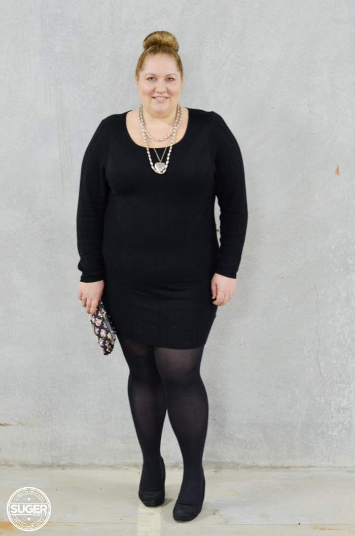 black knit dress with tights plus size-4
