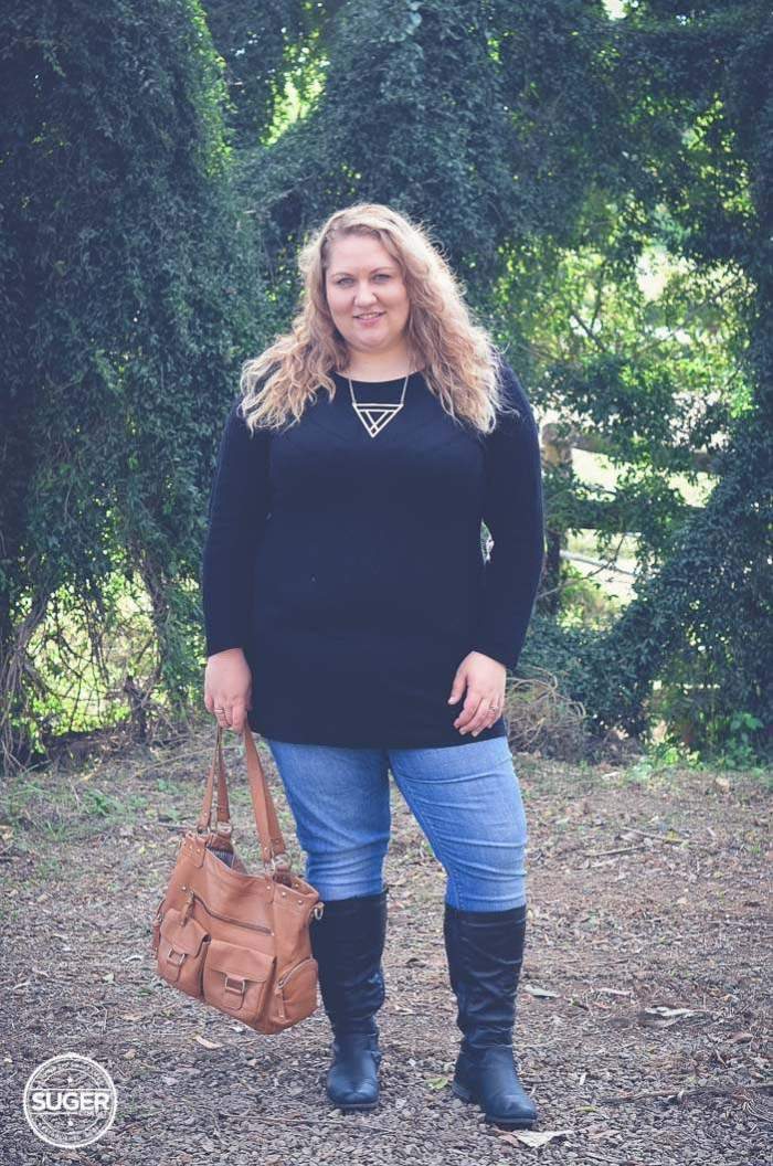 plus size knit dress jeans and boots-1
