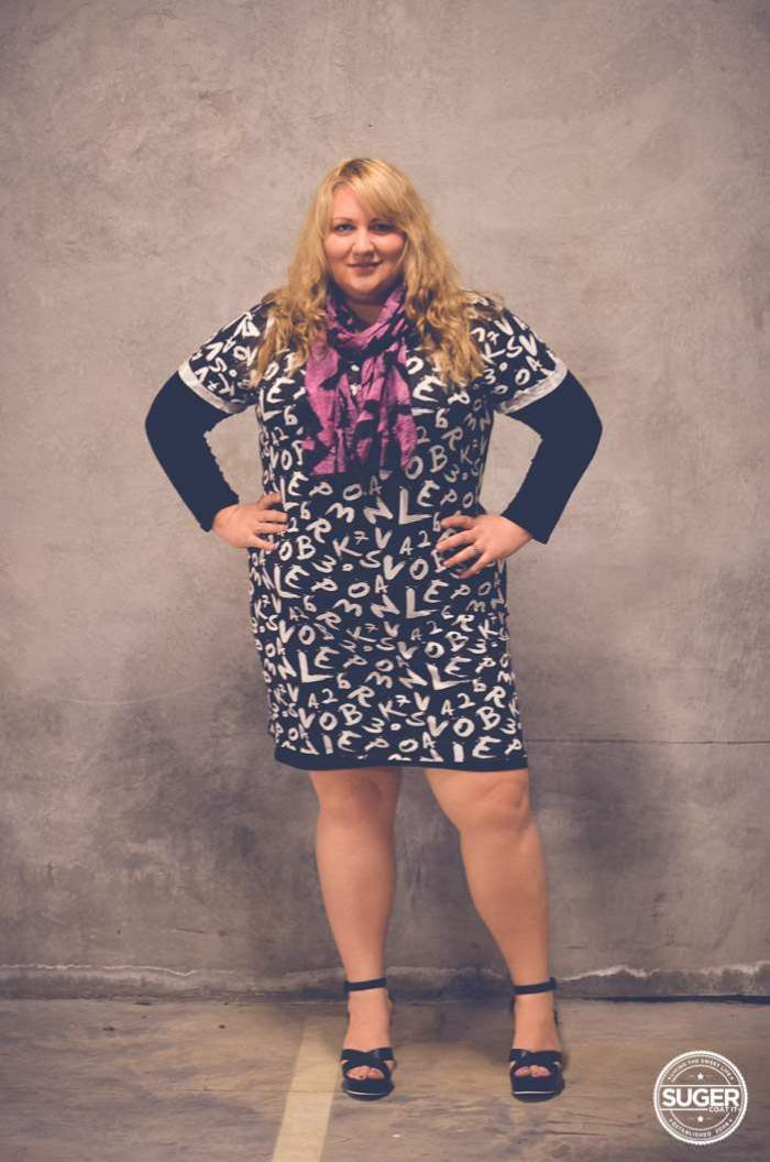 plus size mini dress with layers + heels-1