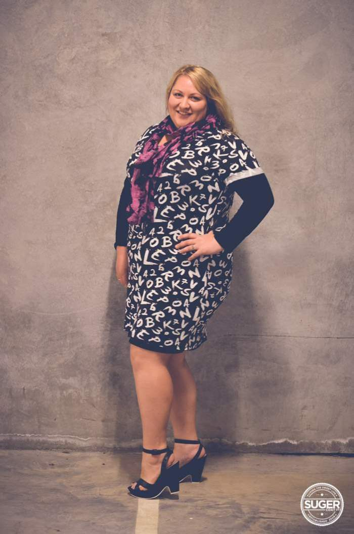 plus size mini dress with layers + heels-4