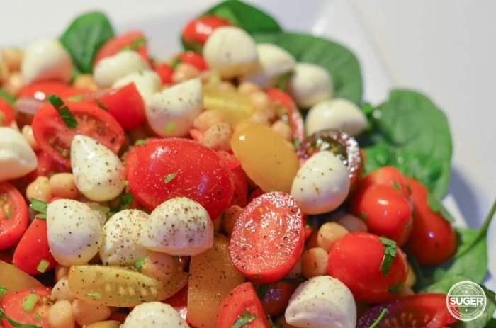 tomato, chickpea, bocconcini, spinach salad caprese inspired-2