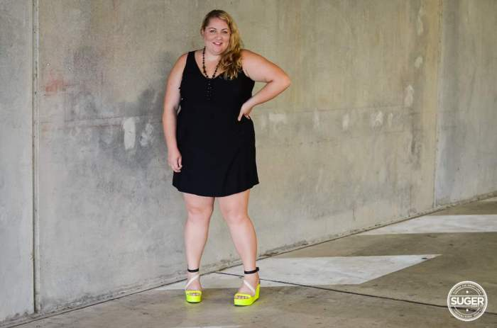 plus size little black dress with neon-7
