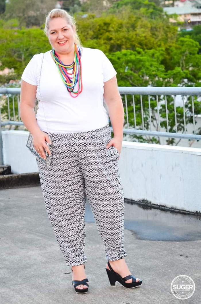 plus size printed pants outfit monochrome-1