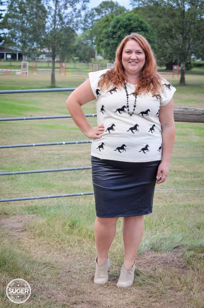plus size casual outfit horse print-4