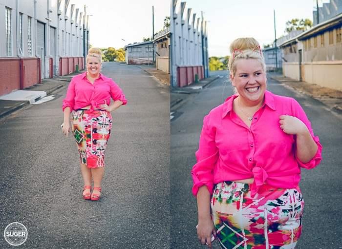 plus size fashion cut for evans pink floral skirt-001