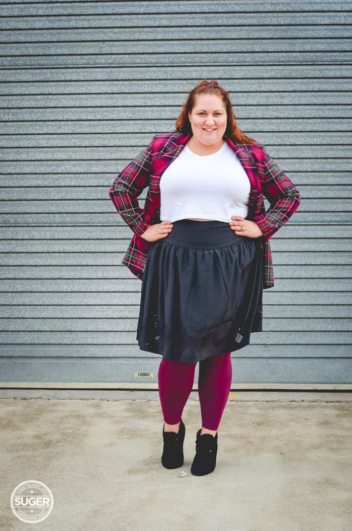 plus size outfit plaid jacket crop top + ful skirt-3