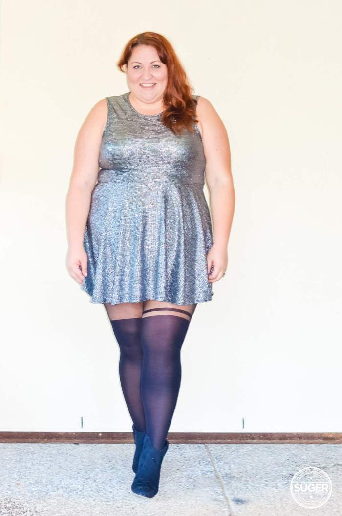 silver skater dress plus size outfit-3