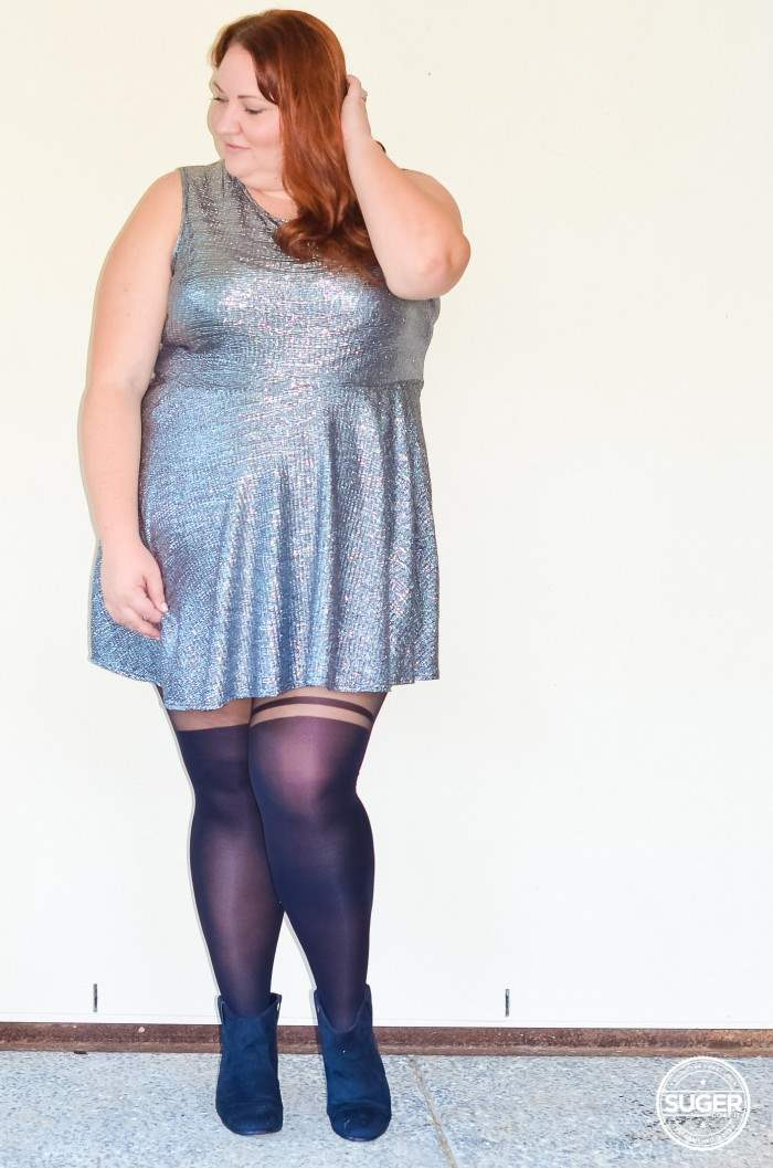 silver skater dress plus size outfit-4