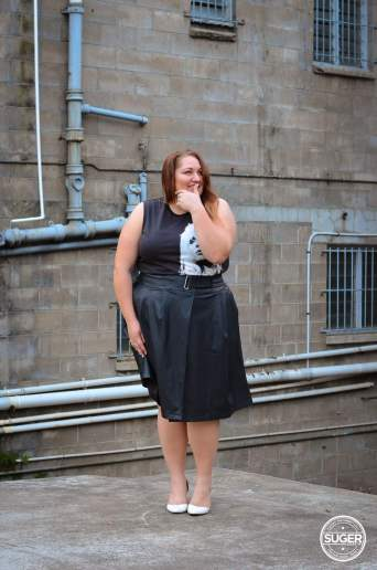 plus size blondie tee + leather skirt outfit asos curve-12