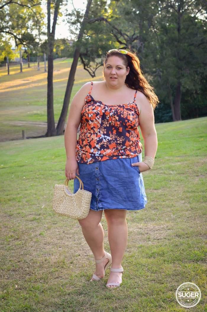 city chic singlet denim skirt outfit plus size-4