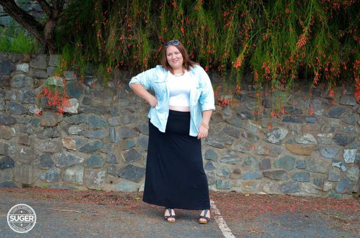 casual chambray shirt maxi skirt outfit plus size-4