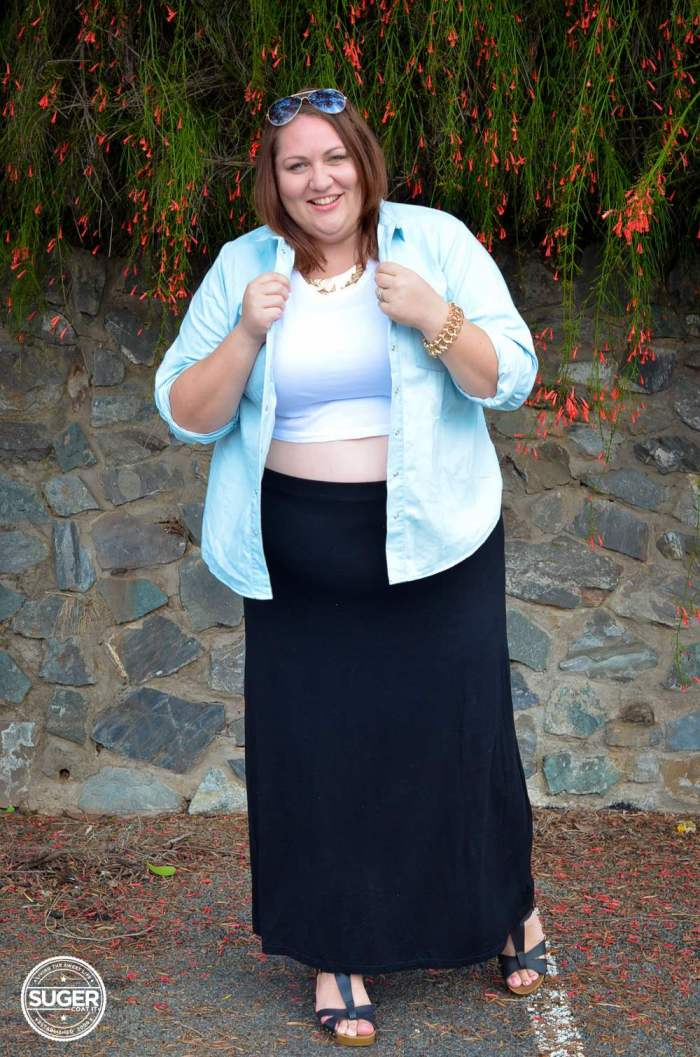 casual chambray shirt maxi skirt outfit plus size-7
