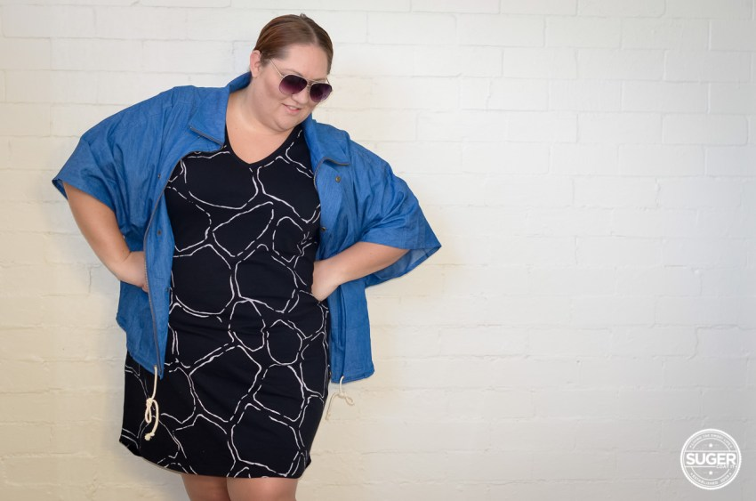 17 sundays plus size casual dress chambray cape-1