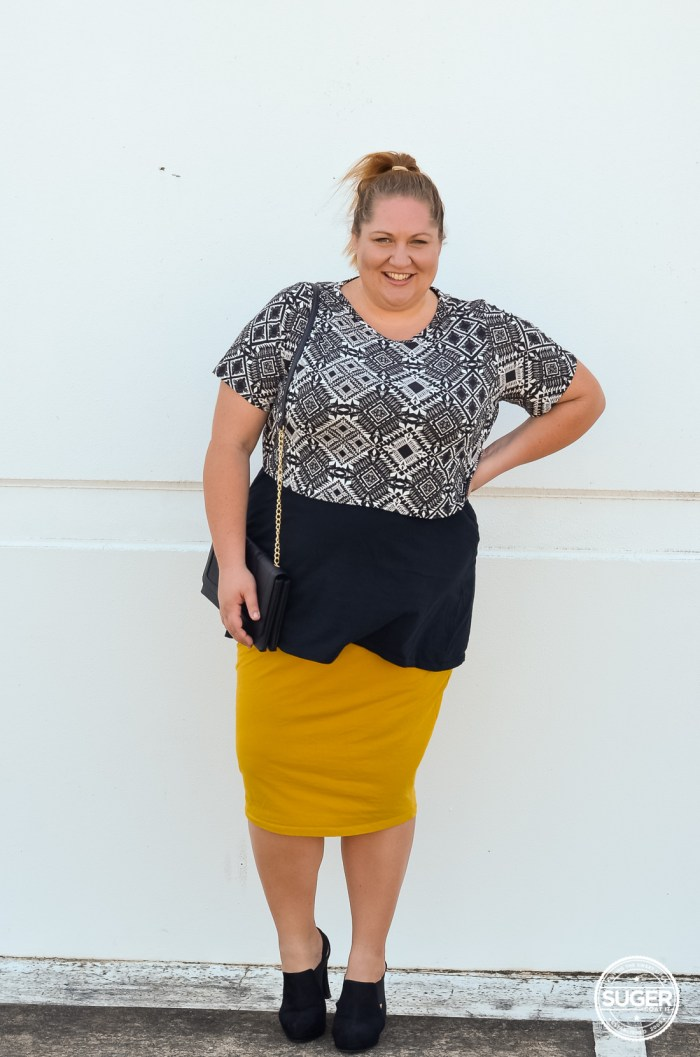 layered plus size crop pencil skirt outfit-3