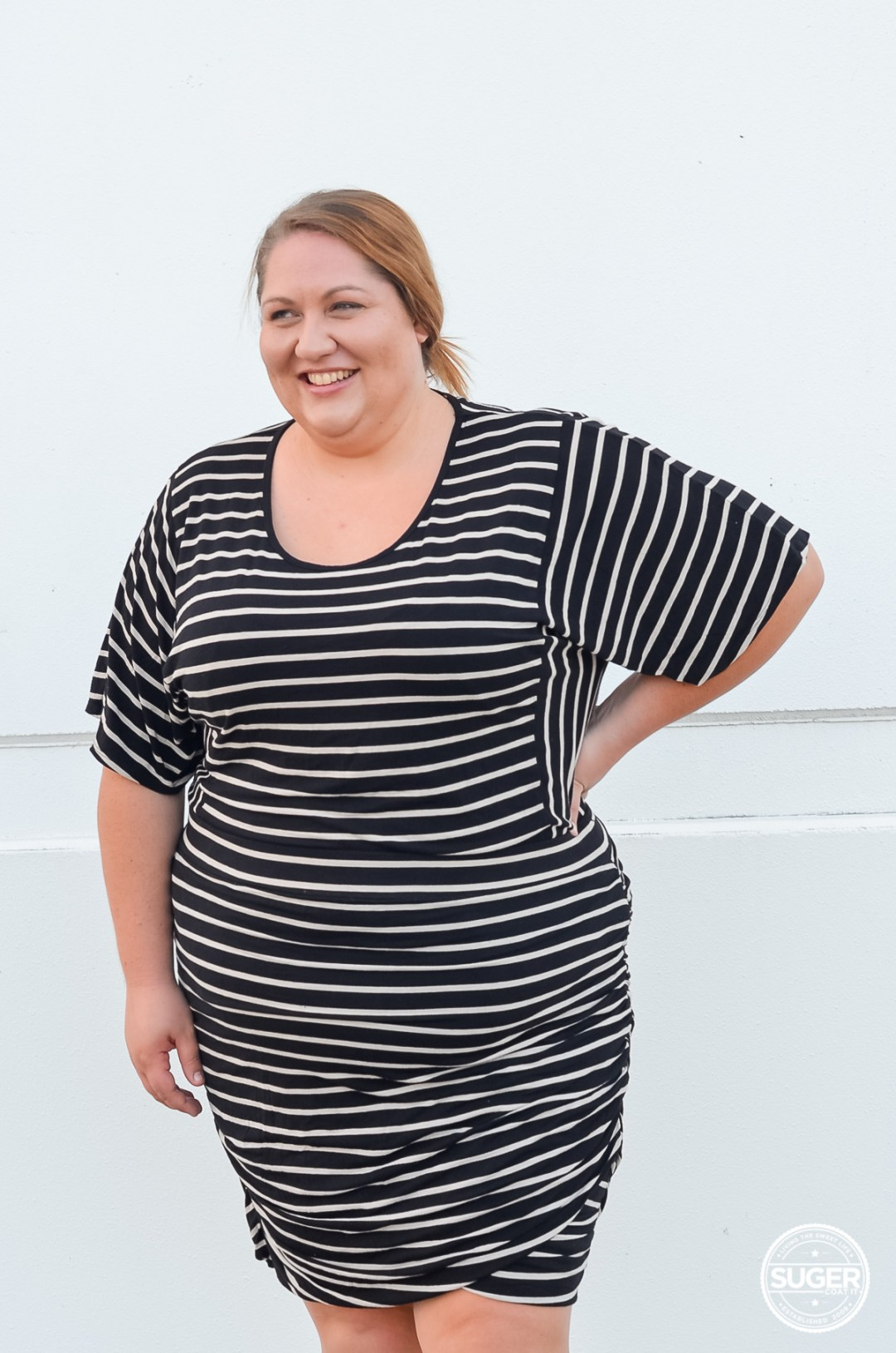 all stripe plus size work outfit
