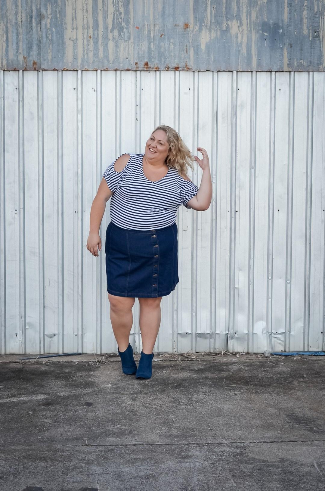 plus size blogger button up asos curve skirt stripe top ankle boots