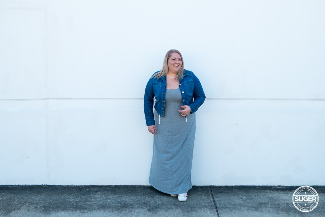 plus size blogger asos curve grey maxi dress-1