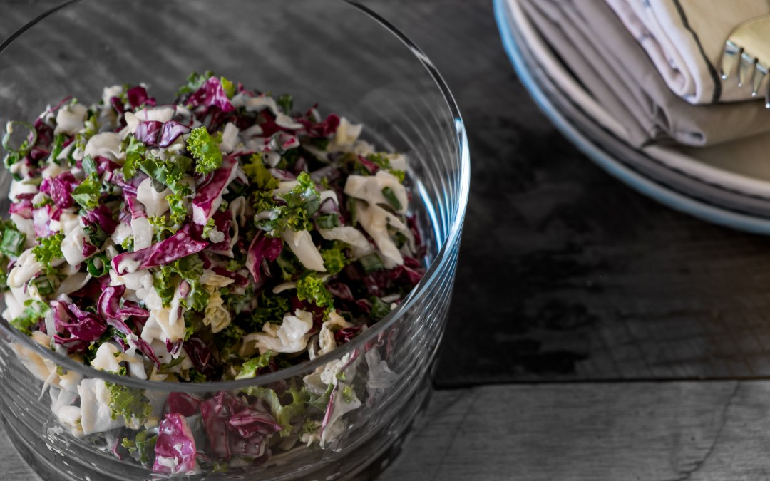 Rough cut kale coleslaw