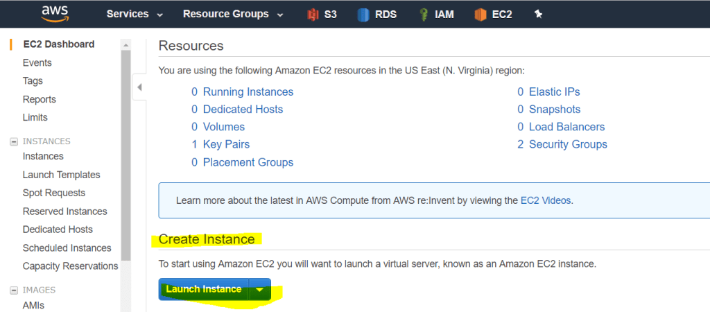 EC2 section where you can launch a new EC2 instance