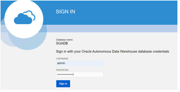 Sign in to Autonomous Database Console by Clicking to Service Console Tab and Provide admin / password