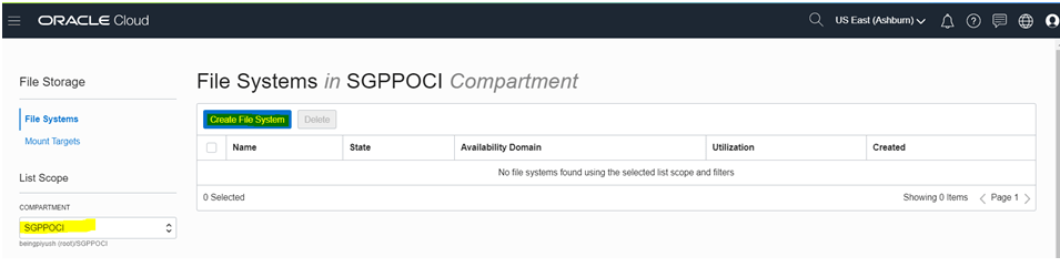 """OCI- File Storage- Choose the compartment and click on """"Create File System"""""""