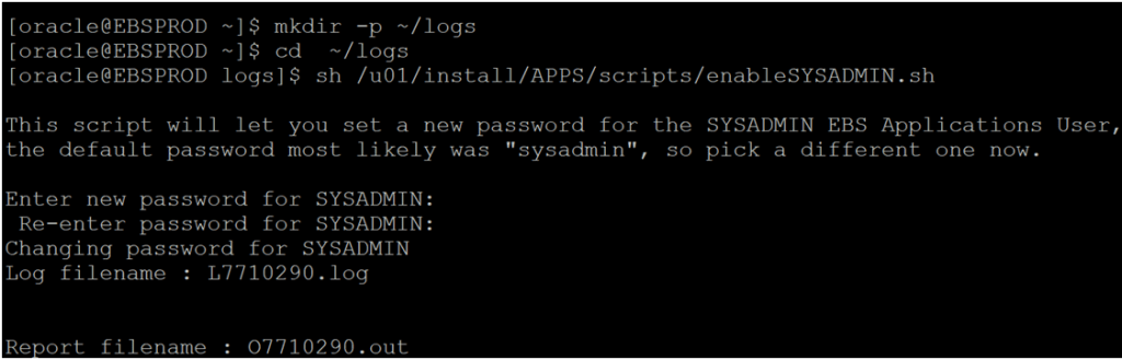 After the SYSADMIN user is active with the new password, you can create new users or activate existing locked users. To enable the SYSADMIN user, run the following commands:
