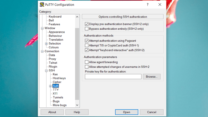 Putty Auth Selection