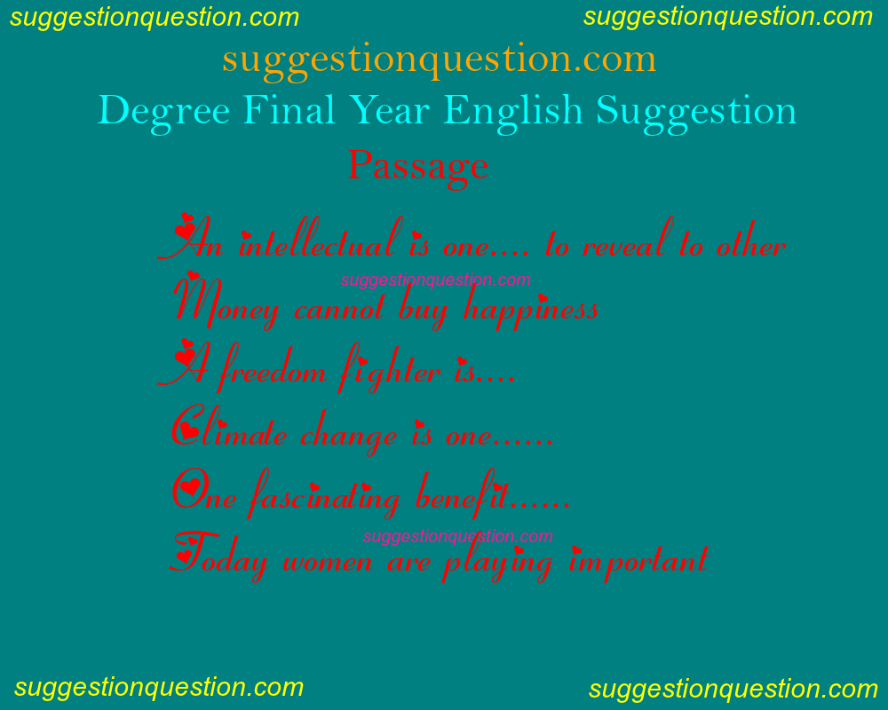 Degree 3rd Year English Suggestion 2019