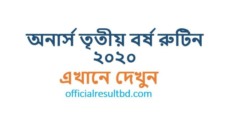 Honours 3rd Year New Routine 2020 (Revised/Changed Routine)