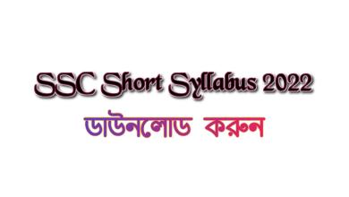 SSC Short Syllabus 2022 PDF Download