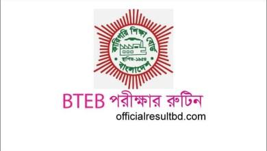 BTEB Routine 2021 PDF Diploma in Engineering Exam