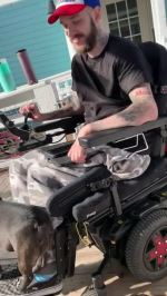 【犬猫動物動画まとめ】Pet Dog Rides With Owner While Standing on the Footplate of his Wheelchair