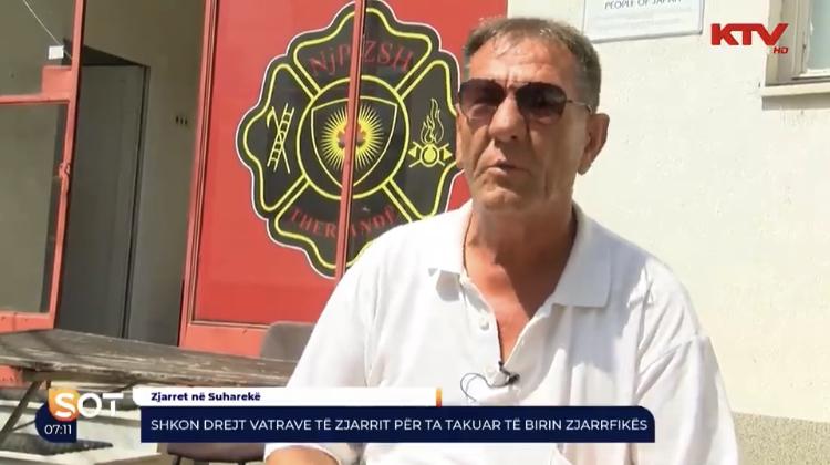 Babai i zjarrfikësit nga Suhareka, shkon në vatrat e zjarrit për ta takuar të birin