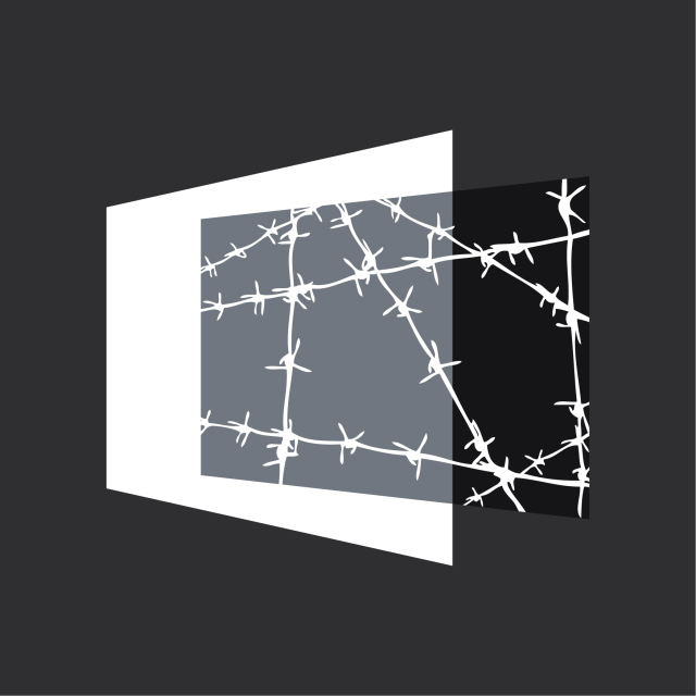 A projected image of barbed wires offset from a white screen