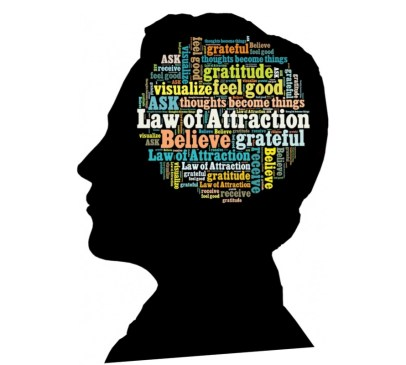 head with thoughts and law of attraction written on it