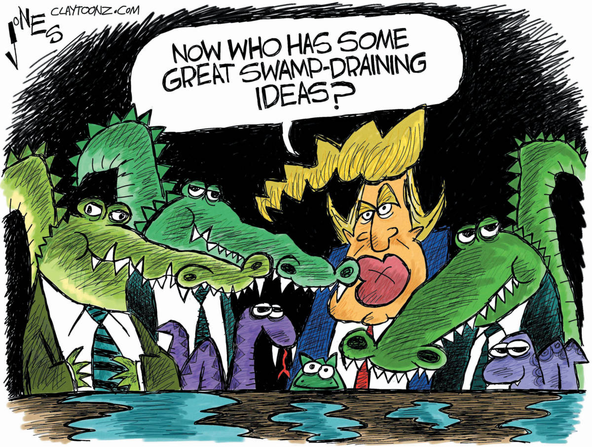 Image result for cartoons of trump's swamp