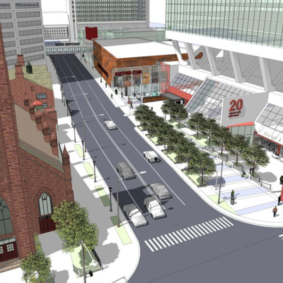 A new vision for Church and Main - where theater, commerce, cathedral, and college meet