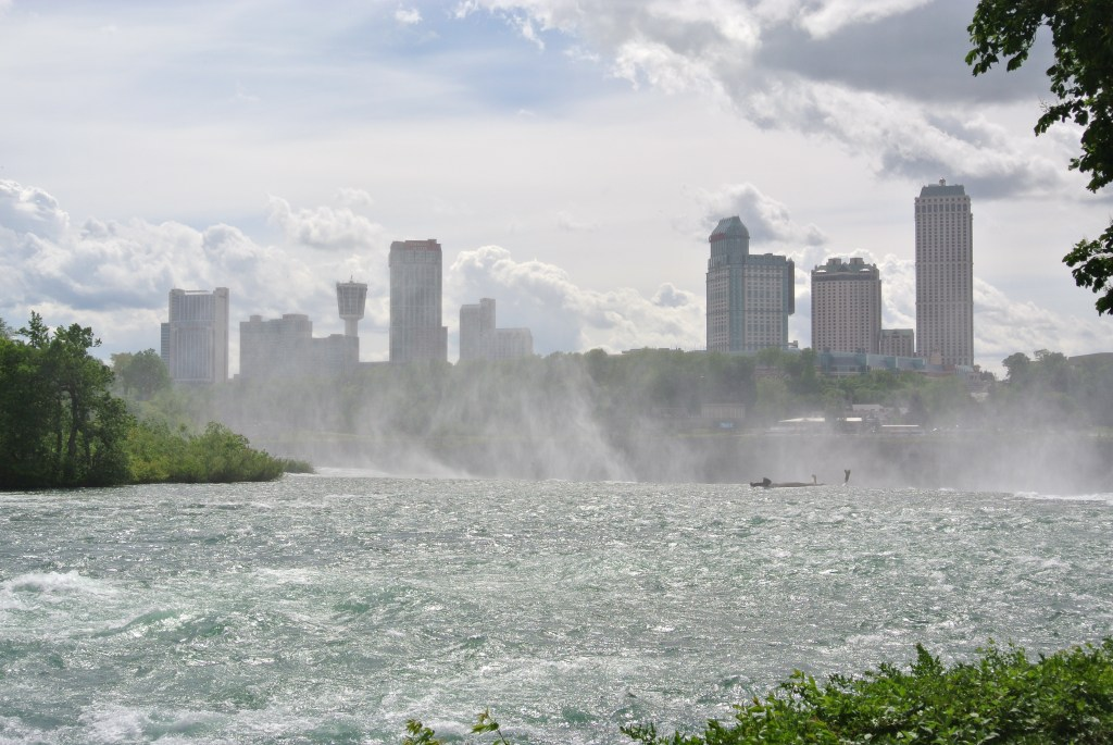 View from Goat Island towards Niagara Falls hotels on the Canadian side.