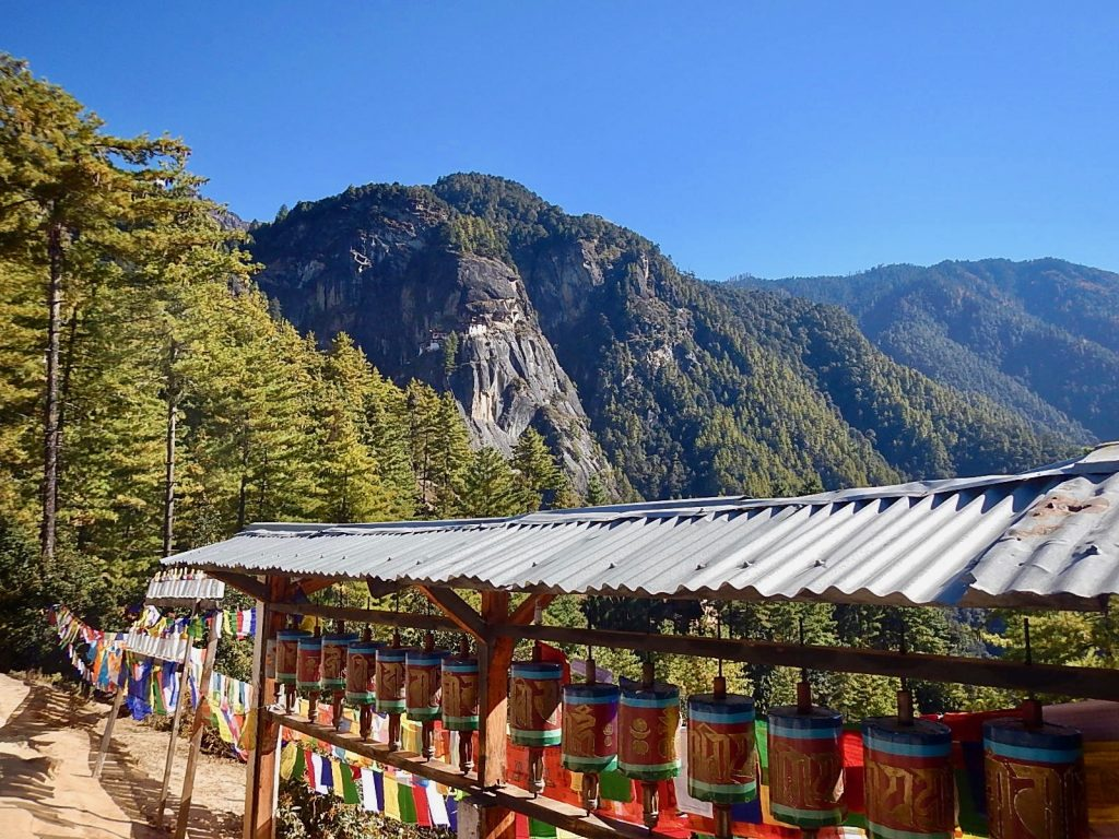 Prayer wheels on the way up to Tiger's Nest Monastery.