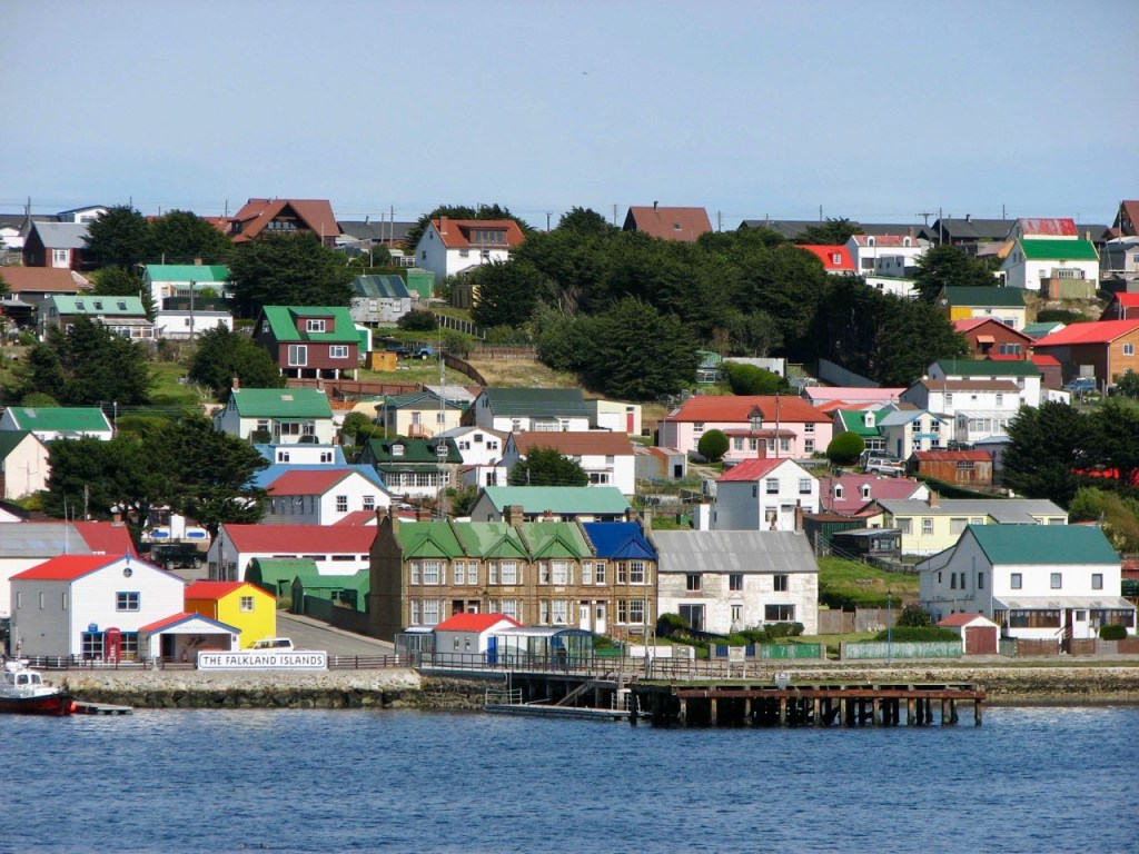 The jetty and colourful homes of Stanley, capital of the Falkland Islands.
