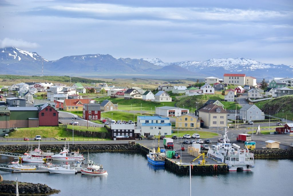 View of the town of Stykkishólmur in West Iceland.