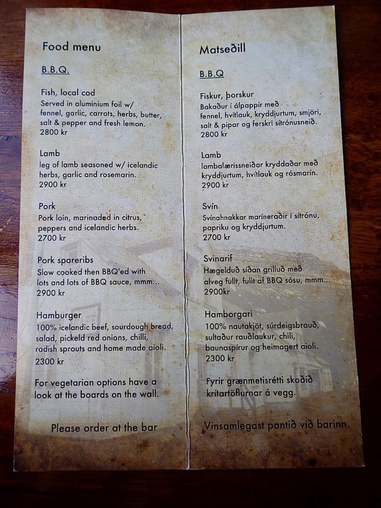 The menu at Kaffi Lara El Grillo in Seydisfjordur.
