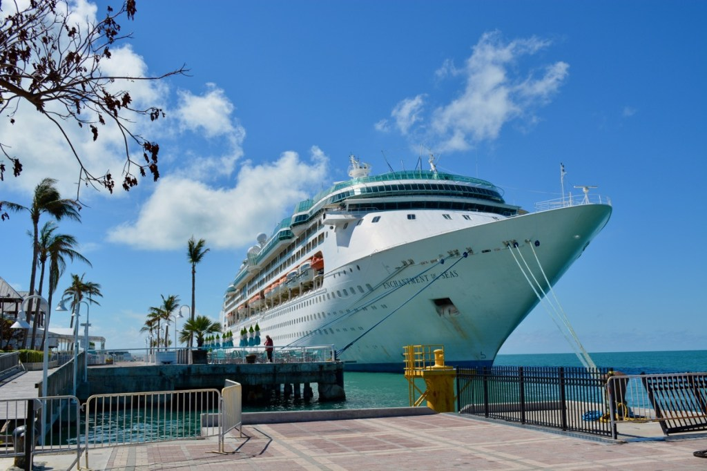 A large cruise ship docked at Key West.