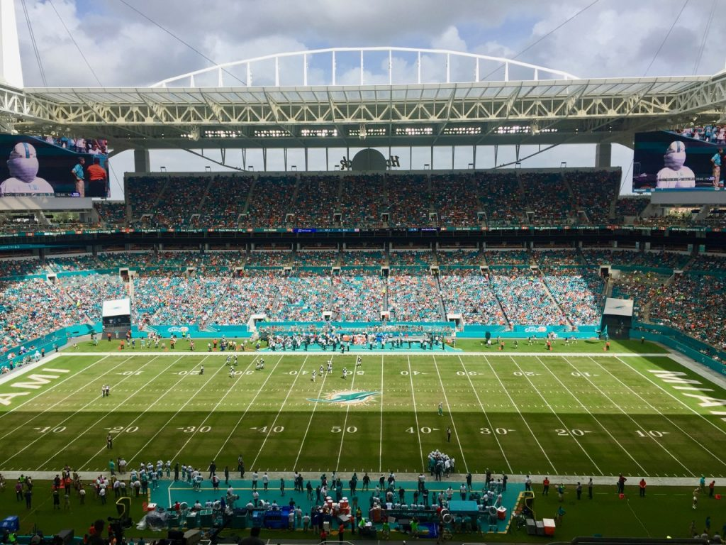 We scored seats at the 50 yard line at the Miami Dolphins NFL game.