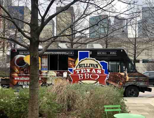 Texas BBQ food truck at Klyde Warren Park in downtown Dallas