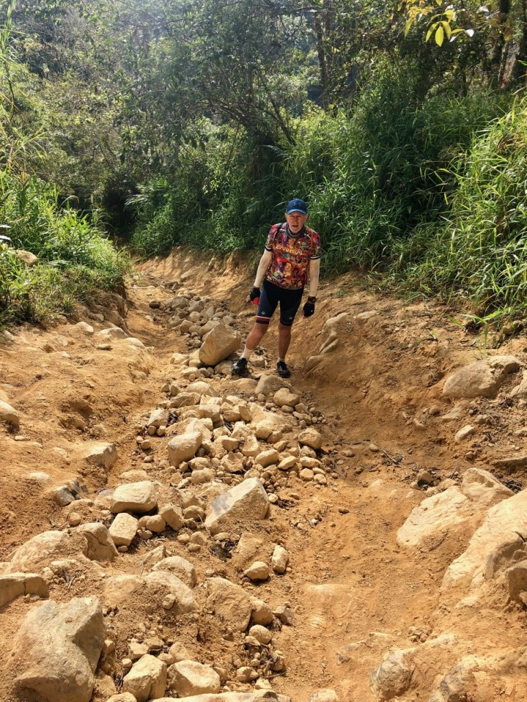 At one stage we had to abandon our bikes and walk, the terrain was so steep and rocky.