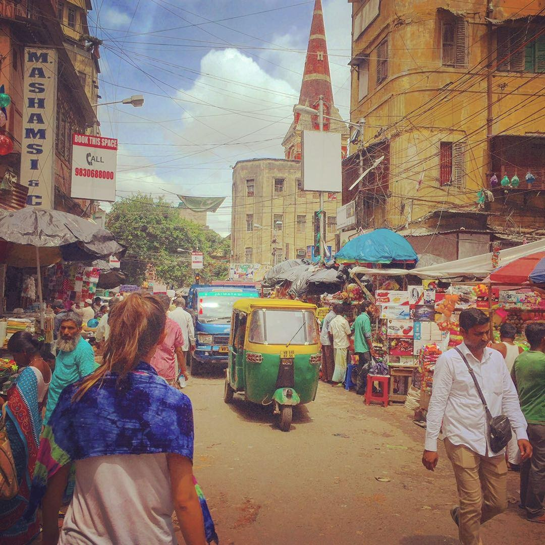Woman of the Week: Stef walking through the crowded streets of India