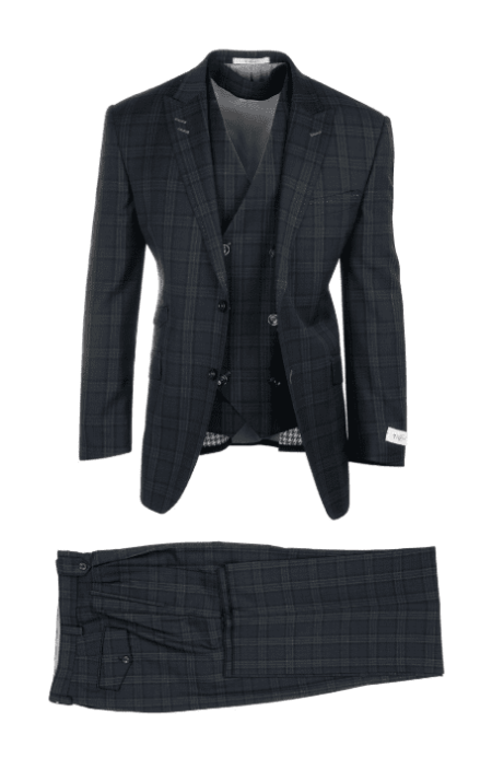 Tiglio Luxe Plaid Wide Leg Suit & Vest Navy/Green – Barbera RF2696/8